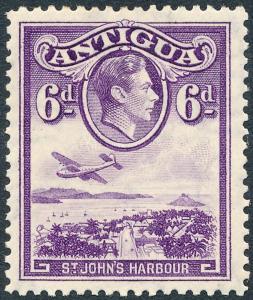 Antigua 1938 6d Violet SG104 MH
