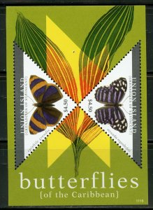 UNION ISLAND BUTTERFLIES OF CARIBBEAN TWO SHEETS & TWO SOUVENIR SHEETS  MINT NH