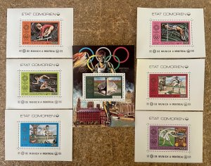 Stamps Deluxes blocs + S/S Olympic Games Montreal 76 Comores Perf.