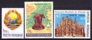 Romania 1976 Coat of Arms, Buzau Anniv. & Milan Cathedral MNH SC 2622,2643,2658