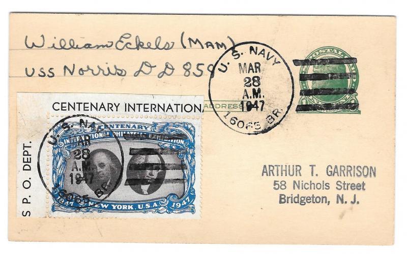 CIPEX Cinderella Tied UX27 1947 Navy Ship Cancel USS Norris DD 859 Poster Stamp