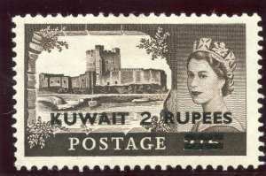 Kuwait 1955 QEII 2r on 2s 6d black-brown (Surch Type I) MLH. SG 107. Sc 117.