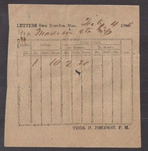 Confederate States America POSTMASTER TALLY SHEET 2.4 1865 BRANDON MISS late use