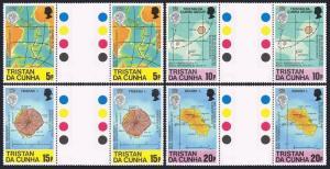 Tristan da Cunha 283-286 gutter,MNH.Michel 293-296. Geographical Society,150.Map