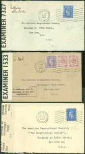 1942-3 (6) WWII London, Birm'gham England Cds's, D, CB/B C&H & CB PERFINS