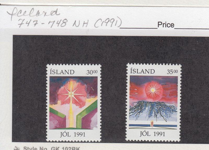 J29026, 1991 iceland set mnh #747-8 christmas
