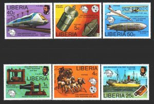 Liberia. 1976. 997-1002. Postal transport, satellite, horses. MNH.