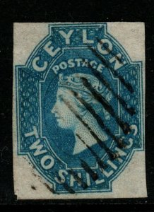 CEYLON SG12 1859 2/= DULL BLUE USED