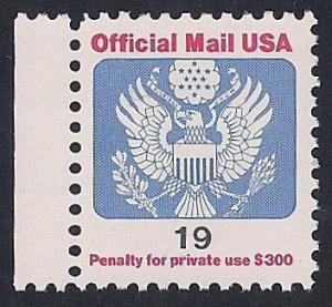 O147 19 cent eagle official Stamp mint OG NH EGRADED VF 78