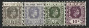 Mauritius KGVI 1938 high values on chalky paper mint o.g.