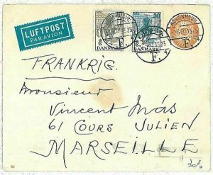 11937 - DENMARK - POSTAL HISTORY - STATIONERY cover added stamps to FRANCE 1915