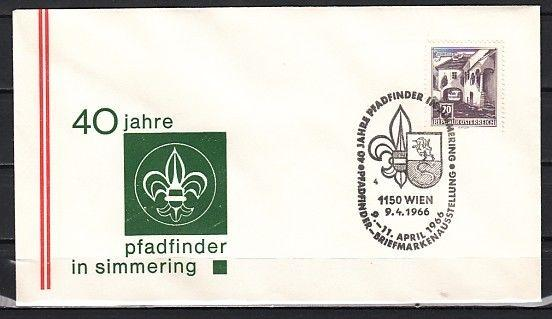 Austria, 09/APR/66 issue. Simmering Pathfinder, Scout Cancel on Cachet cover.