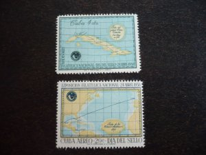 Stamps - Cuba - Scott#593,C180 - Mint Hinged Set of 2 Stamps