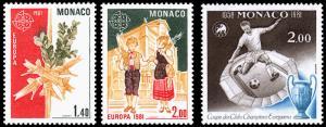 Monaco Scott 1278-1279, 1280 (1981) Mint NH VF B