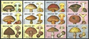 1989 Bhutan Mushrooms, Funghi, complete set VF/MNH! CAT 24$ LOOK!