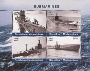 Madagascar - 2018 Submarines - 4 Stamp Sheet - 13D-216