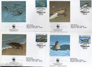 Turkmenistan WWF Caspian Seal Marine Life Animal Fauna Mammals Sc 35-38 FDCs Set