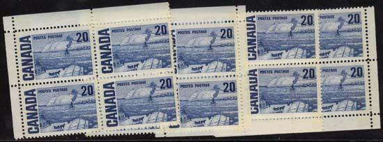 Canada - #464pi 20c The Ferry Quebec Blocks VF-NH Issued 1972.