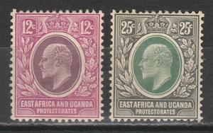 EAST AFRICA & UGANDA 1907 KEVII 12C AND 25C