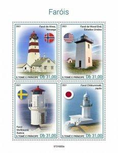 Sao Tome & Principe 2021 MNH Lighthouses Stamps Wood End Lighthouse 4v M/S