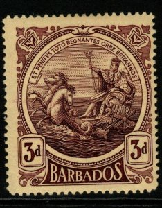 BARBADOS SG186a 1919 3d DEEP PURPLE/YELLOW THICK PAPER MTD MINT