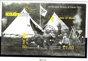 Isle of Man Sc 1188 2007 Scouts Anniversary stamp sheet used
