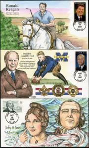 #3545 // #4199 (3) DIFFERENT COLLINS HAND PAINTED FDC CACHET BP7390