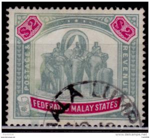Malaysia, Malaya 1900, Elephant and Howdah, $2., Scott# 15, used