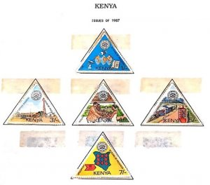 A) 1987, KENYA, TRIANGLE, 10TH ANNIVERSARY OF THE NATIONAL COMPANY OF POST AND T