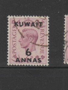 KUWAIT #78  1948  6a on 6p KING GEORGE VI SURCHARGED   F-VF  USED  a