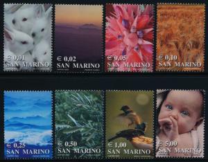 San Marino 1522-9 MNH Rabbits, Cactus, Olives, Sparrows, Baby