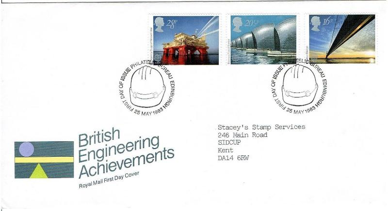 GREAT BRITAIN 1983 FDC - BRITISH ENGINEERING ACHIEVEMENTS, EDINBURGH CANCEL