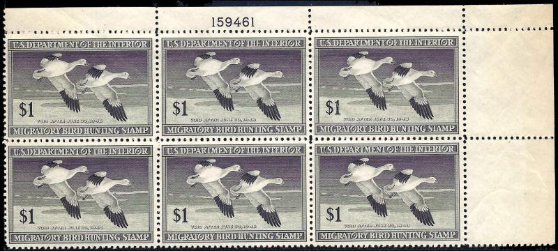 RW14 Mint,OG,NH... Plate Block of 6... SCV $340.00