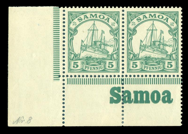 German Colonies - SAMOA 1900 Kaiser's YACHT 5pf grn Sc#58 MNH pair w/bottom INSC