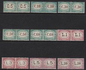 1897-1919 San Marino, Vat N°1/9 Complete Series IN Pairs Horizontal MNH