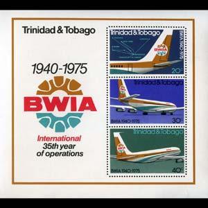TRINIDAD & TOBACO 1975 - Scott# 253a S/S Air NH