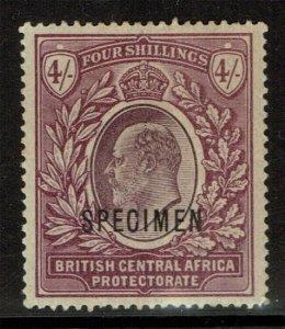 British Central Africa 1903 KE-VII, 4/sh Specimen, Sc # 66,VF Mint Hinged* (R-4)