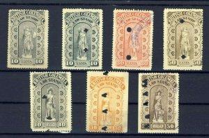 7x B.C. Canada Law stamps 1x3 Ser.10c 3xBroke S 10-30-50 3x4th 10-30-50 CV=$55.