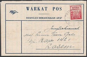 INDONESIA 1952 formular aerogramme commercially used with 20s ex Bandoeng...K471