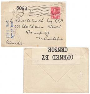 Canada 2c Red KGV Admiral Coil 1917 to Winnipeg, Man.  Canada Censor.  Origin...