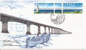 1997 Canada FDC Sc 1646a - Confederation Bridge between NB and PE