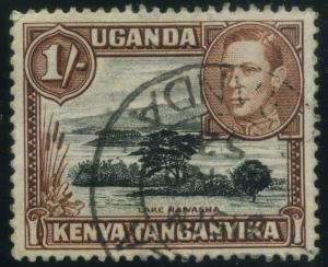 BRITISH KUT KENYA UGANDA;  1938-40s early GVI issue 1s. fine used value