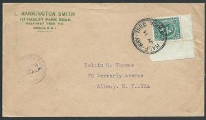 JAMAICA 1940s WW2 GVI ½d on censor cover HALF WAY TREE cds.................46990