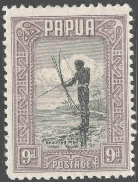 Papua Scott 102 MH* 1932 fishing with bow and arrow stamp