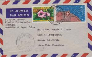 Upper Volta 25F Flowers and 30F Space Communications 1966 Dedougou, Haute Vol...