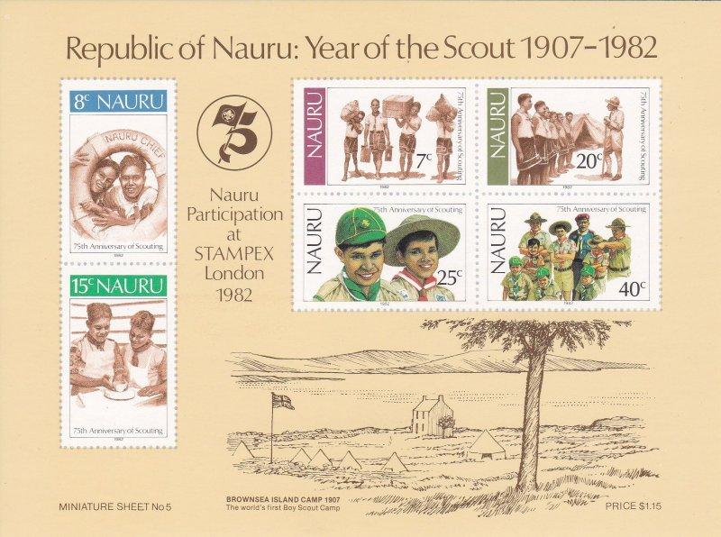Nauru MNH S/S 249a Year Of Scouting 1982