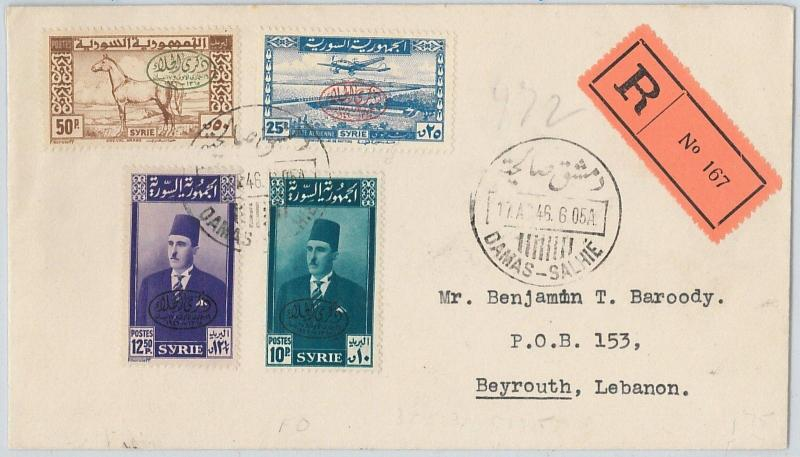 58949 - SYRIA  - POSTAL HISTORY: S  # 328-330,C1  / M. # 540/3 on FDC COVER 1946