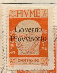 Fiume 1920 Early Issue Fine Mint Hinged 20c. Optd 273682