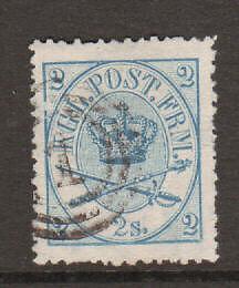 Denmark Sc 11 used 1865 2s Royal Emblems, almost VF