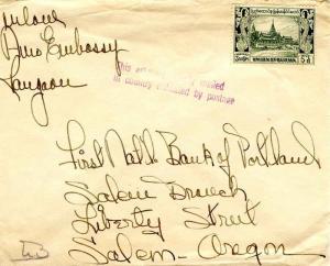 Burma 3a6p Royal Palace c1952 to Salem, Oreg. with violet sl This article ori...